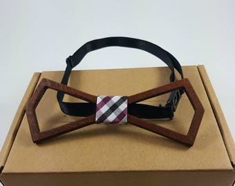 Angie Wood Fashion Wooden Handmade Bow Tie