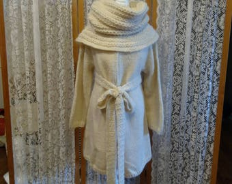 Winter white wool and mohair  coat with matching hooded cowl and belt in size M. Both items sold separately.