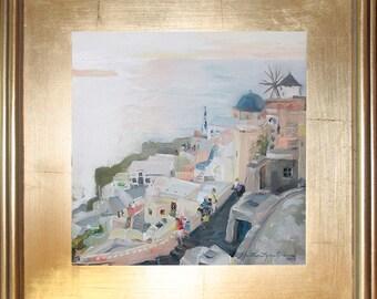 Santorini West End Original Oil Painting