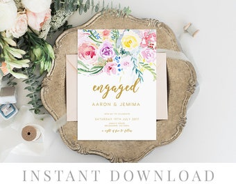 Engagement Invitation INSTANT DOWNLOAD, Engaged Invite, DIY Printable Engaged, Templett, Watercolor Flowers, Bright, Colorful, Bloom