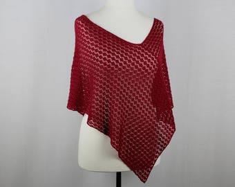 Summer lace poncho, Red knit poncho, Knit poncho, Lightweight poncho, Womens knitted poncho, Cotton poncho