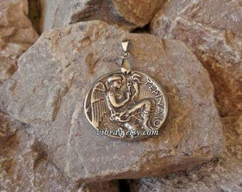Nike Winged Goddess of Victory Roman Victoria Ancient Coin Necklace Pendant