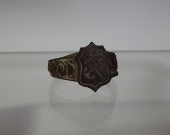 Antique European Ring-Wax Seal With Military Marine Heraldic Coat Of Arms-17/18 Century
