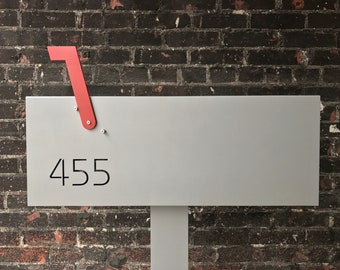 Custom Modern and Contemporary Post Mounted Aluminum and Ipe Mailbox With Flag and Through Cut Or Vinyl Address Numbers