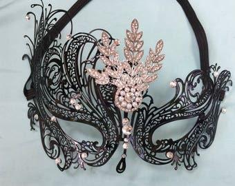 Black Mask, Masquerade Costume, Halloween Costume, Masquerade Mask, Carnival Costume, Fancy Mask, Eye Mask, Metal Mask, Costume Party