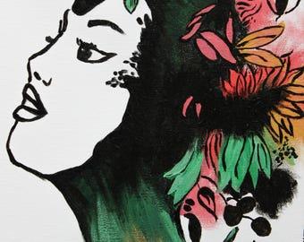 Flower Woman - Original Acrylic Painting Prints