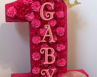 Number piñata, customized colors, carnations paper flowers, with name. In any color needed