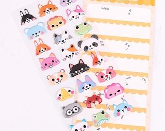 DIY Colorful Animal Half Face Kawaii 3D Stickers Diary Planner Journal Note Diary Paper Scrapbooking Sticker - Orange