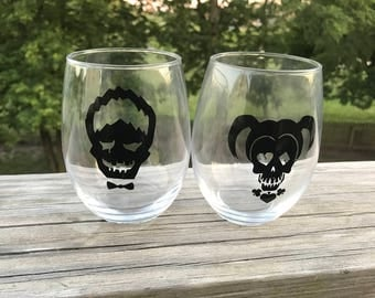 Harley Quinn and Joker Themed Stemless Wine Glass Set of 2