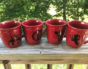 Dead Pool Themed Coffee Mugs Set of 4