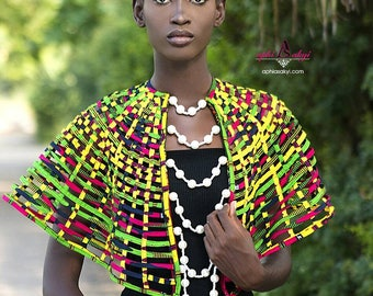 Ankara necklace,Ankara cape, African print,African jewelry,conversion piece,jewelry,necklace.ethnic jewelry Ankara collar.beads, pearls.