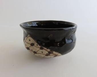 Vintage Japanese Tea Bowl (KURO-ORIBE)