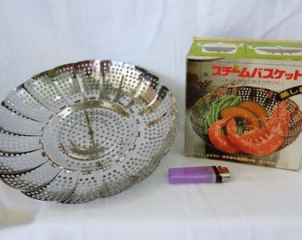 VJ83 : Vintage Japanese High quality stainless steel steamer ,cookware ,original box