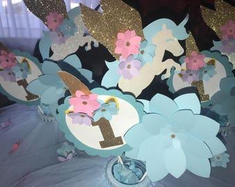 Unicorn - Blue Tutu Centerpiece