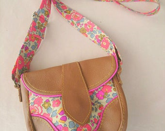 Handbag / satchel / Camel leatherette / neon pink buttons and Liberty Floral Fluo tea Betsy