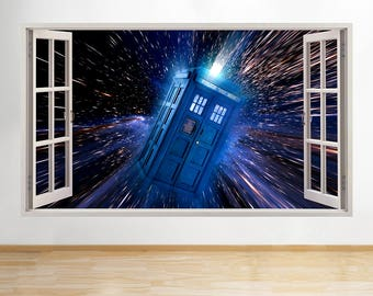 R688 Doctor Tardis Who Time Travel Smashed Wall Decal 3D Art Stickers Vinyl  Room
