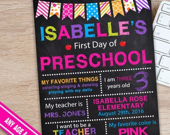 First Day of Preschool Sign - Preschool Signs - Preschool Chalkboard Sign - Back to School Chalkboard Signs