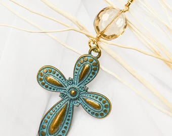 Turquoise and Gold Cross Pendant