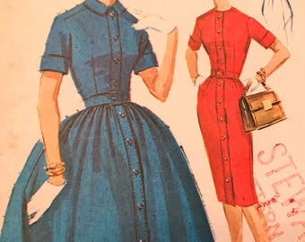 Elegant Vintage Shirtwaist Dress With Two Skirt Versions---McCalls 6001---Size 16  Bust 36