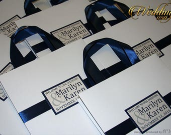 Blue Wedding Welcome Bags for guests with ribbon, names, Elegant wedding favor bags, Navy Blue welcome bags for wedding guests, welcome bags