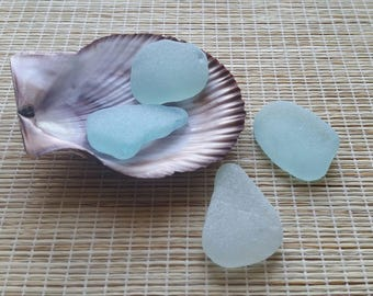 Light sea colors. Genuine sea glass. Light aqua sea glass. Surf tumbled large beach glass. For jewelry making, art, wedding dec #179#