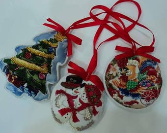 New year tree toy Christmas decor Holiday decorations Xmas toy Embroidered tree toy New year gift Christmas gift for kids Stocking stuffers
