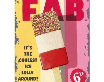 FAB Lolly Ice Cream, Vintage Shop Kitchen Cafe, Metal/Steel Wall Sign