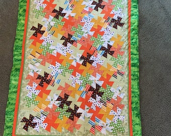 Handmade Vibrant, Cozy Baby Quilt for a Boy or Girl