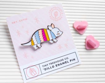 Armadillo Enamel Pin (enamel pin, lapel pin, texas pin, cute animal, texas mascot, state animal, little animal brooch, badge, soft enamel)