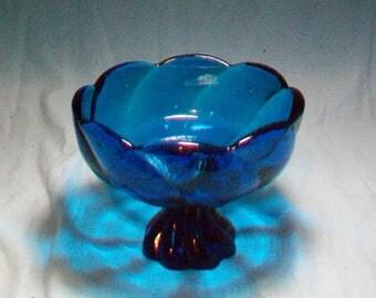 Viking Glass Bluenique Candy Dish