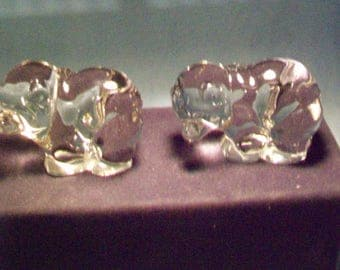 Two Darling Glass Bears Figurines  Viking Glass