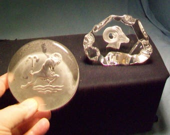 Two Aries Zodiac Paperweights
