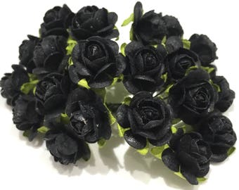 Black Open Mulberry Paper Roses Or079