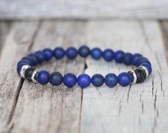 Lapis Lazuli Diffuser Bracelet, Lava Rock Bead Bracelet for Diffusing Essential Oils
