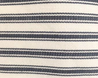 75cm x 50cm (1/4 metre) Ticking Stripe Fabric, traditional Hamptons Beach House  blue/off white ticking cushions, sewing, lampshades