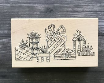 Large Wooden Stamp Bunch of Presents