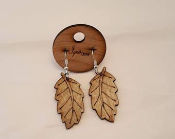 Wood earrings, Laser cut wood leaf earrings, Leaf earrings