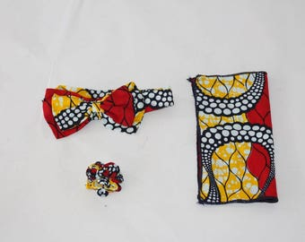 African Print Bow Tie Set