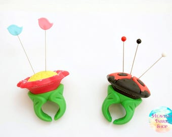 Silicone Lady Bug or Flower Pincushion Ring
