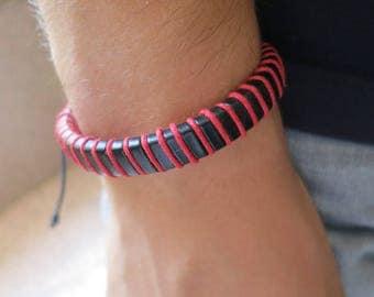 Bracelet leather, red, 56 mm