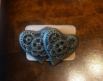 Steampunk gear heart earings