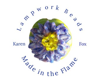 Purple Flower Lampwork Glass Bead by Karen Fox