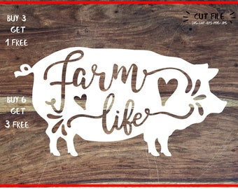 life is better with a pig svg dxf file instant download stencil silhouette cameo cricut clip art animals commercial use, pig svg