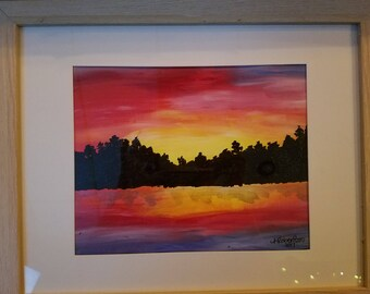 Sunset at the Lake (With Frame)