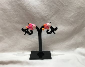 Pink fish stud earrings