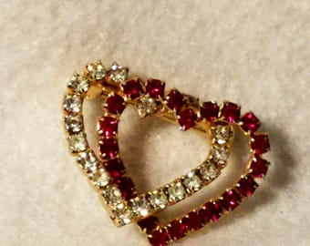 Vintage rhinestone double heart brooch pin