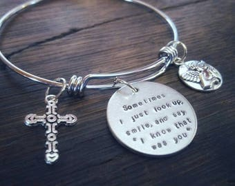 Personalized Bangle charm bracelet - Create your own bangle - charm and hand stamped bangle bracelet - Personalized gift for her