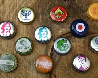Set of 3 bottle caps-Magnets upcycling