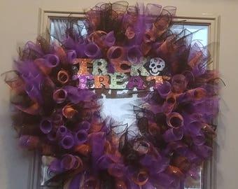 "18"" mesh trick or treat wreath"