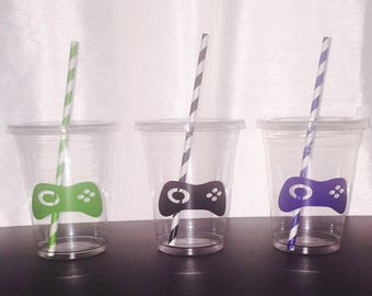 Video Game Party Cups, Birthday Cups, Gamer